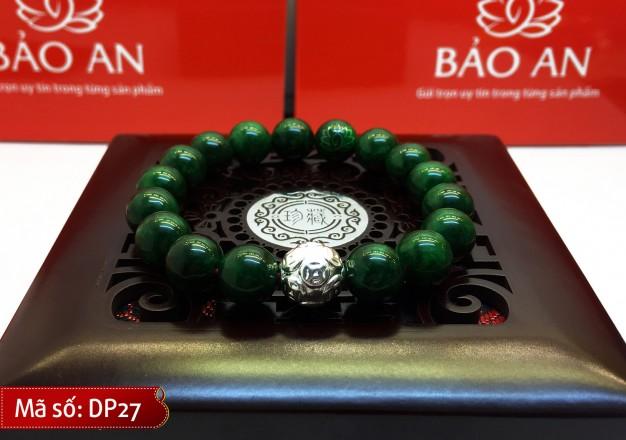Vòng Tay Phong Thủy Ngọc xanh lục Malaysia Mix Charm Bạc Kim Tiền cho người mệnh Mộc và Hỏa – DP27