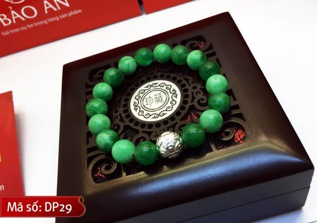 Vòng Tay Phong Thủy Ngọc xanh lục Malaysia Mix Charm Bạc Kim Tiền cho người mệnh Mộc và Hỏa – DP29