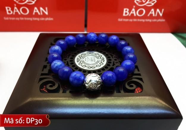 Vòng Tay Phong Thủy Đá Hoàng Long Xanh Biển Mix Charm Bạc cho người mệnh Thủy và Kim – DP30