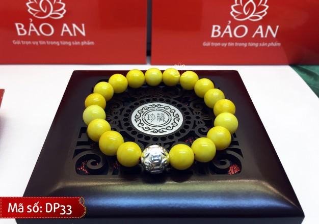 Vòng Tay Phong Thủy Đá Hoàng Long Vàng Mix Charm Bạc cho người mệnh Thủy và Kim – DP33